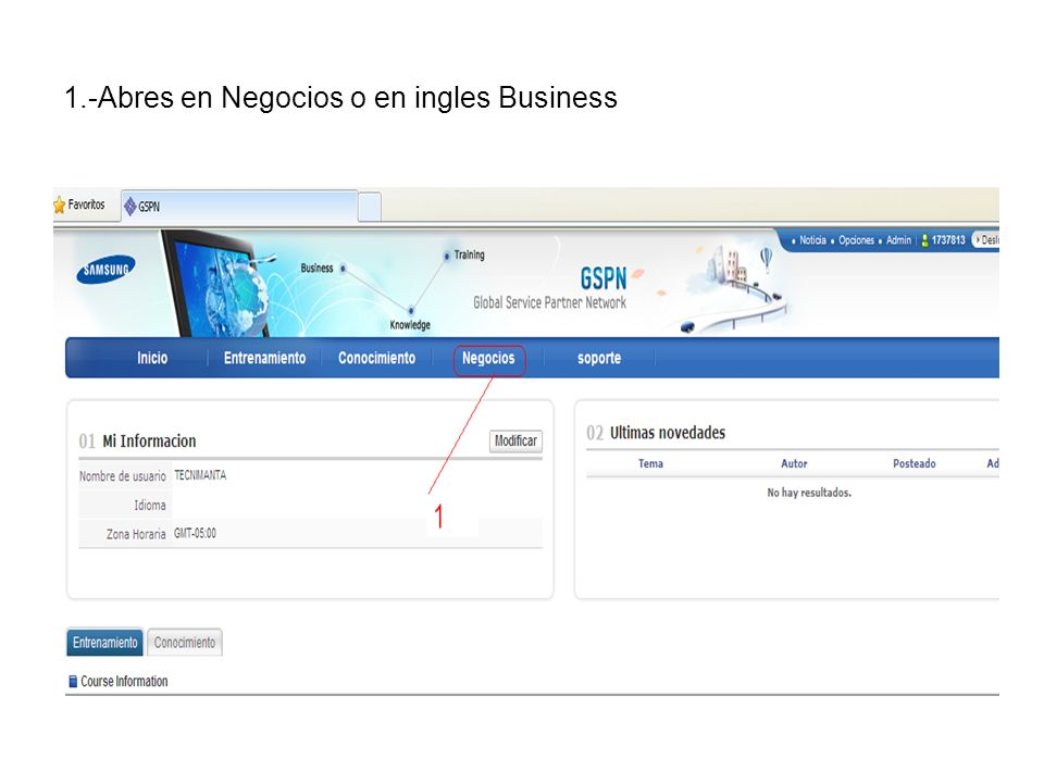 1.-Abres en Negocios o en ingles Business
