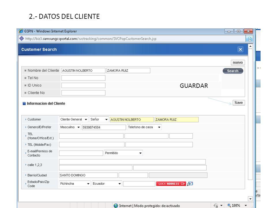 2.- DATOS DEL CLIENTE GUARDAR