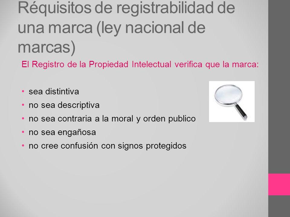 Réquisitos de registrabilidad de una marca (ley nacional de marcas)