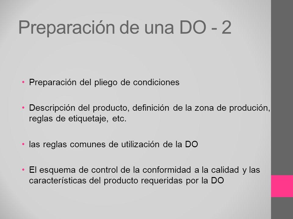 Preparación de una DO - 2 Preparación del pliego de condiciones
