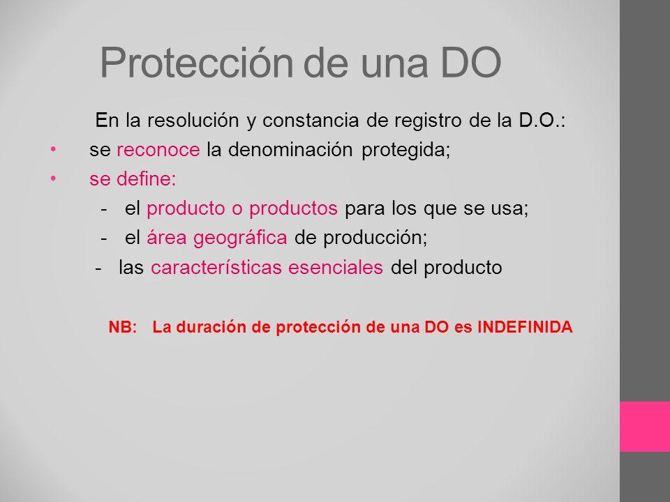 Protección de una DO En la resolución y constancia de registro de la D.O.: se reconoce la denominación protegida;
