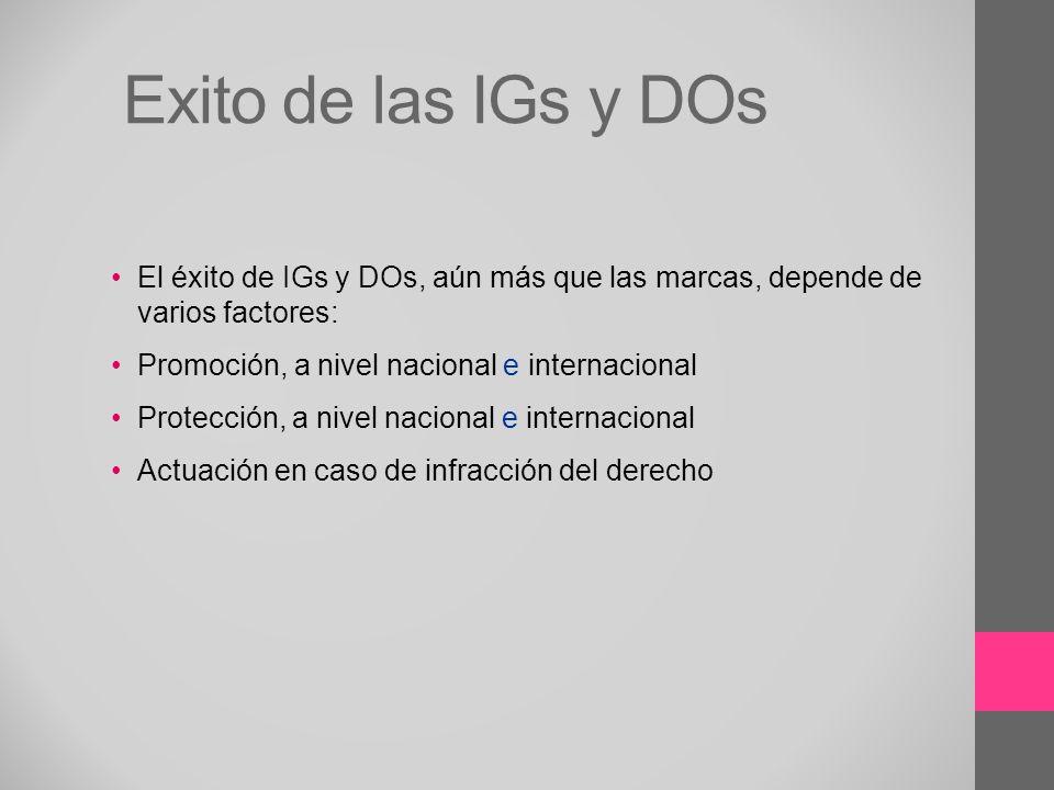Exito de las IGs y DOs El éxito de IGs y DOs, aún más que las marcas, depende de varios factores: Promoción, a nivel nacional e internacional.