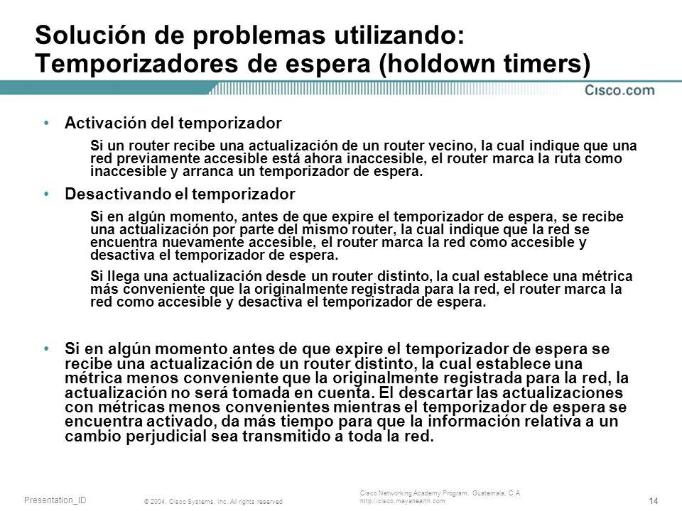 Solución de problemas utilizando: Temporizadores de espera (holdown timers)