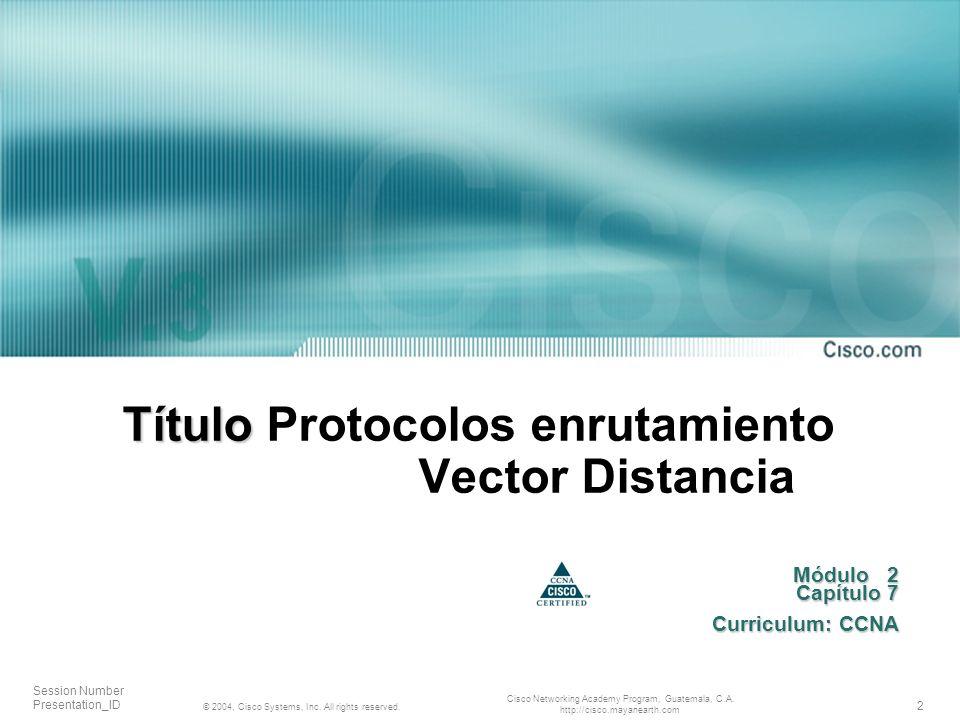 Título Protocolos enrutamiento Vector Distancia