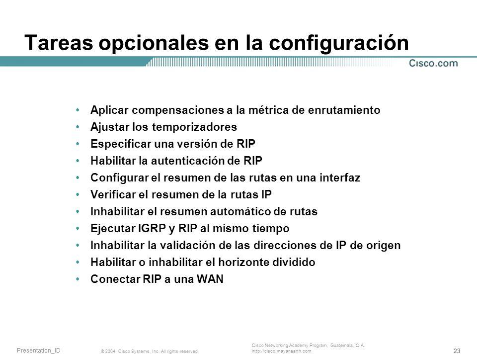 Tareas opcionales en la configuración