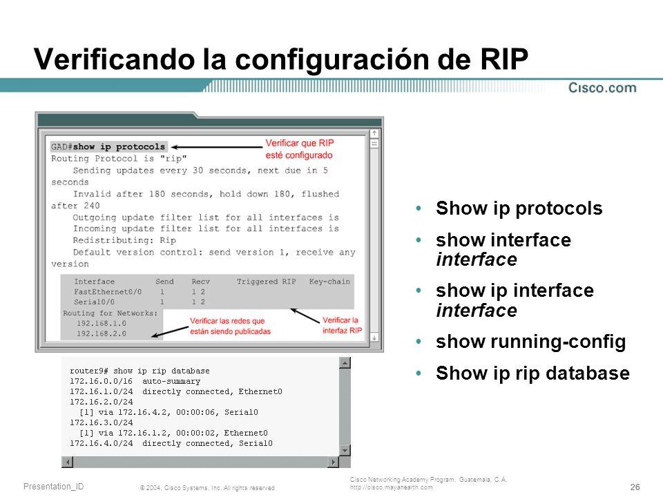 Verificando la configuración de RIP