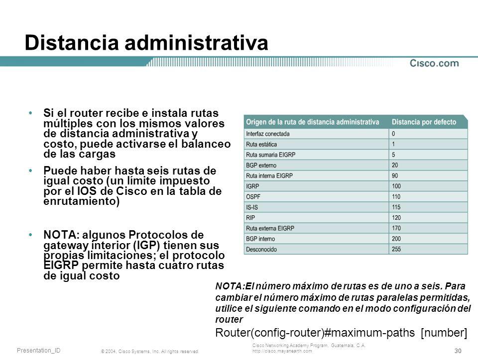 Distancia administrativa