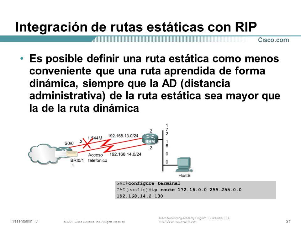 Integración de rutas estáticas con RIP