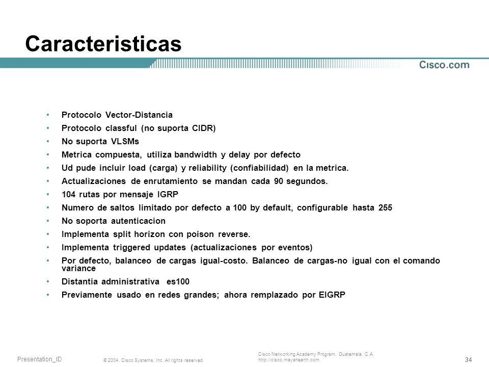 Caracteristicas Protocolo Vector-Distancia