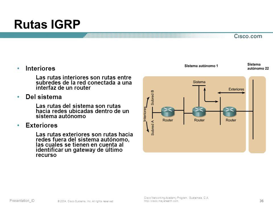 Rutas IGRP Interiores Del sistema Exteriores