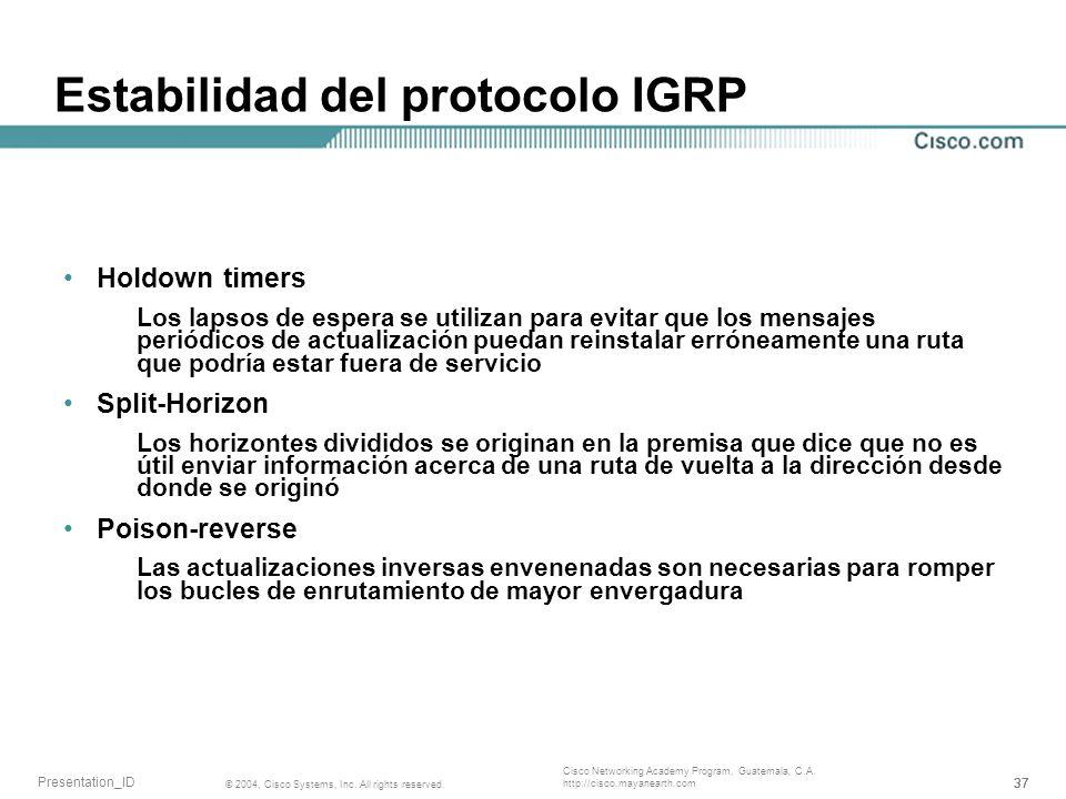 Estabilidad del protocolo IGRP