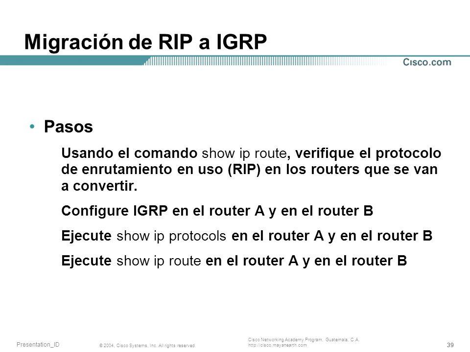 Migración de RIP a IGRP Pasos