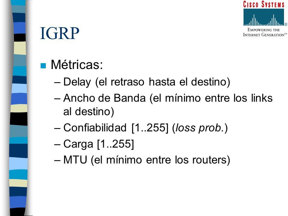 IGRP Métricas: Delay (el retraso hasta el destino)