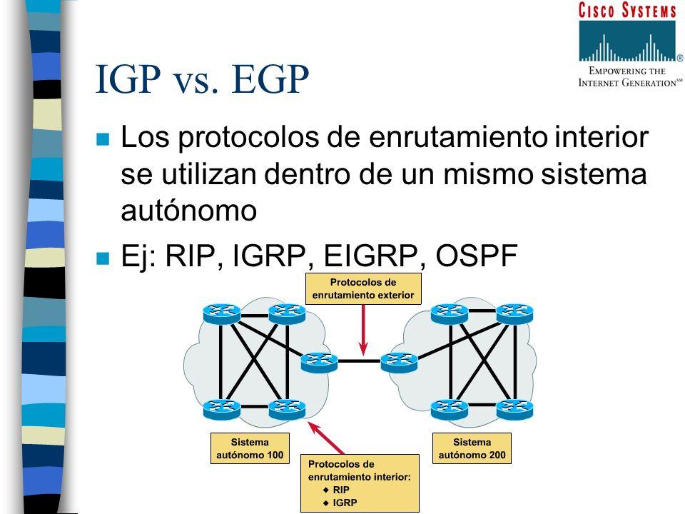 IGP vs. EGPLos protocolos de enrutamiento interior se utilizan dentro de un mismo sistema autónomo.