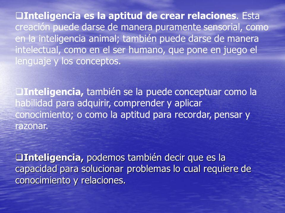 Inteligencia es la aptitud de crear relaciones