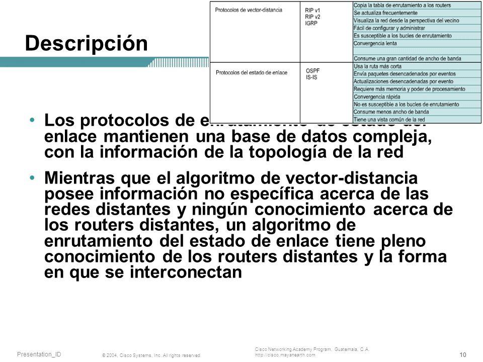 Descripción Los protocolos de enrutamiento de estado del enlace mantienen una base de datos compleja, con la información de la topología de la red.