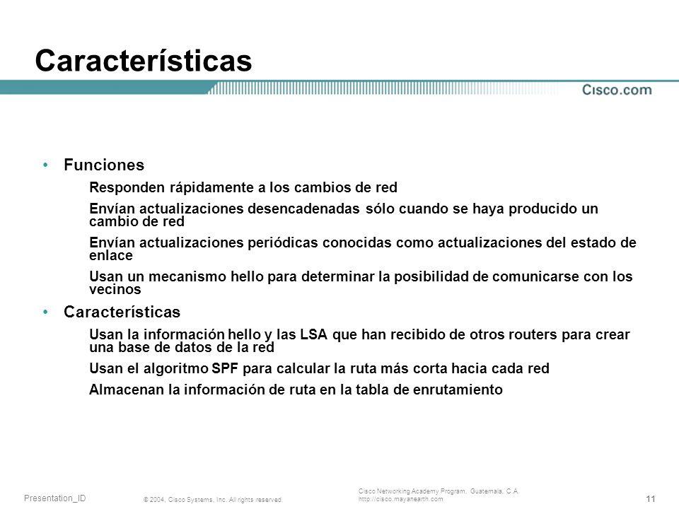 Características Funciones Características