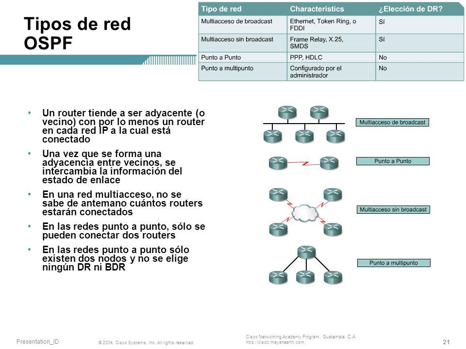 Tipos de red OSPF Un router tiende a ser adyacente (o vecino) con por lo menos un router en cada red IP a la cual está conectado.