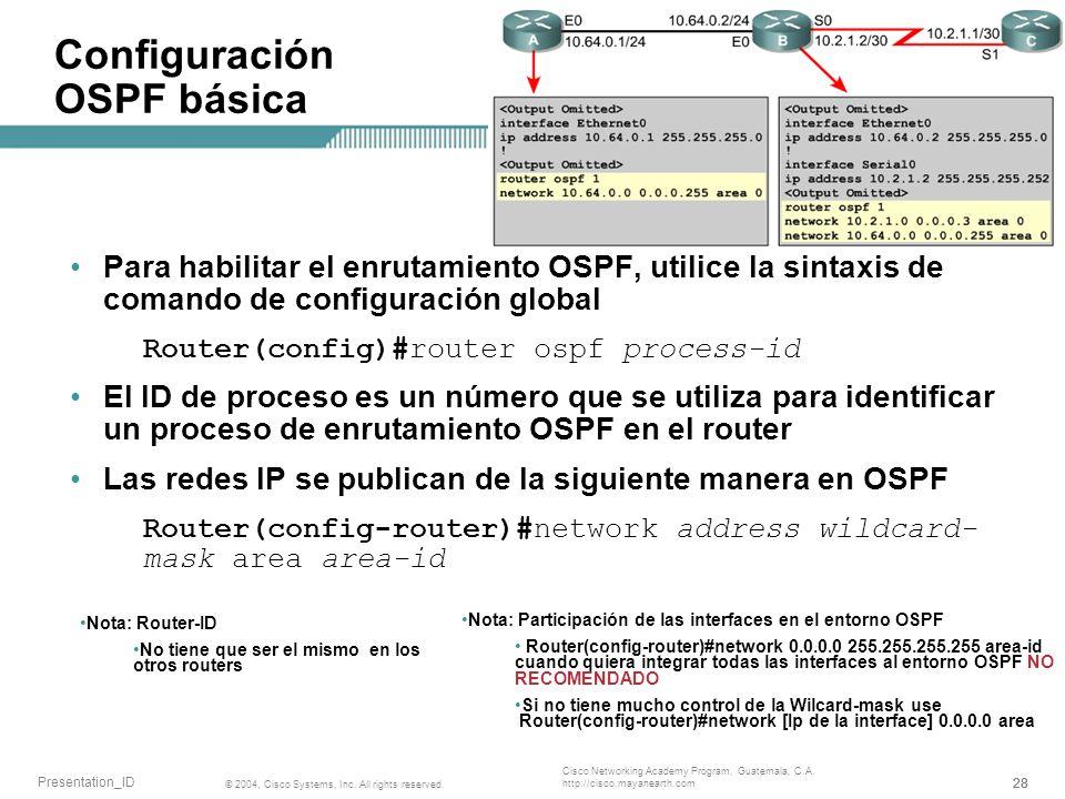 Configuración OSPF básica