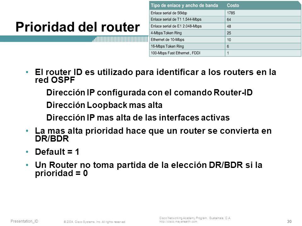 Prioridad del router El router ID es utilizado para identificar a los routers en la red OSPF. Dirección IP configurada con el comando Router-ID.