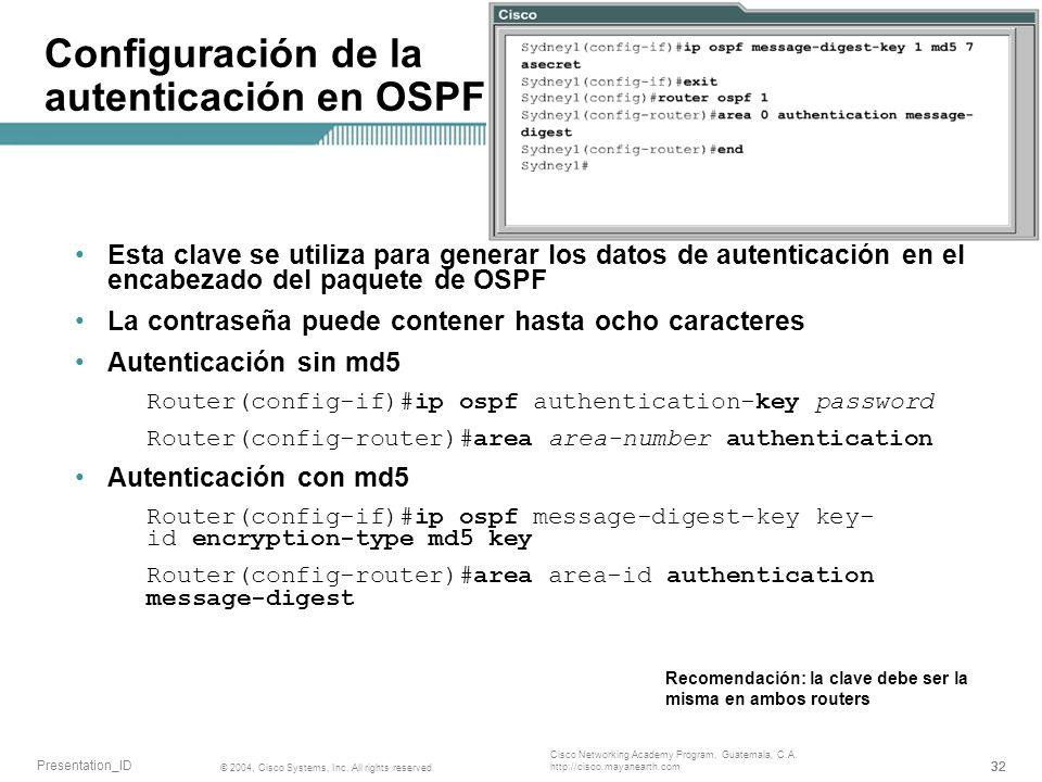 Configuración de la autenticación en OSPF