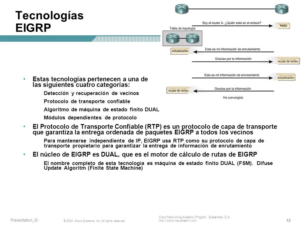 Tecnologías EIGRP Estas tecnologías pertenecen a una de las siguientes cuatro categorías: Detección y recuperación de vecinos.