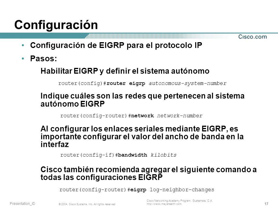 Configuración Configuración de EIGRP para el protocolo IP Pasos: