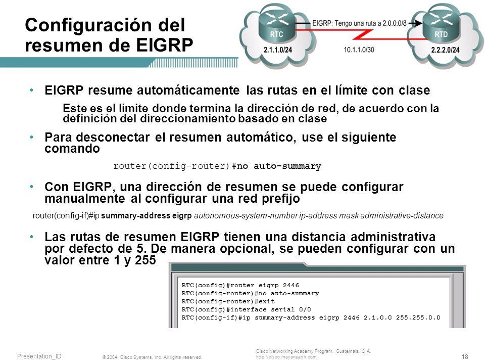 Configuración del resumen de EIGRP