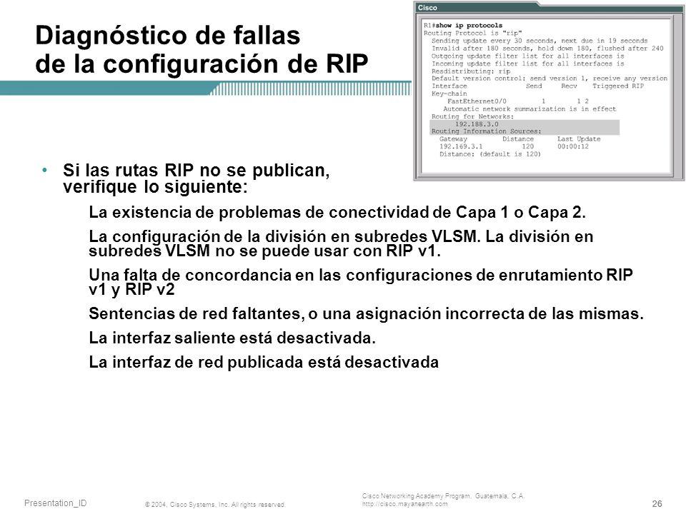 Diagnóstico de fallas de la configuración de RIP