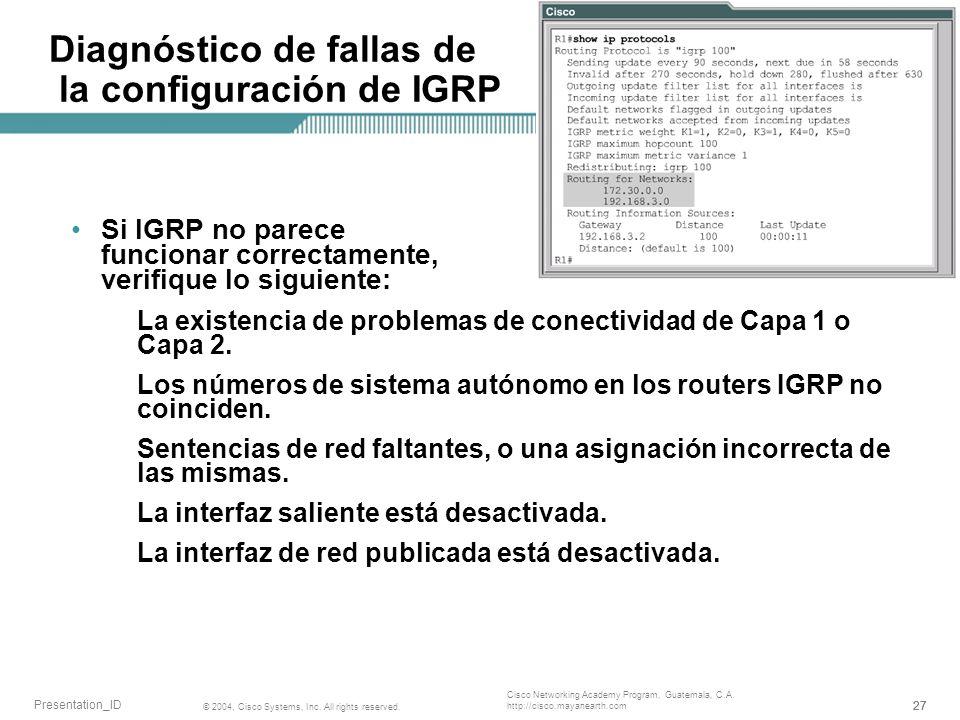 Diagnóstico de fallas de la configuración de IGRP