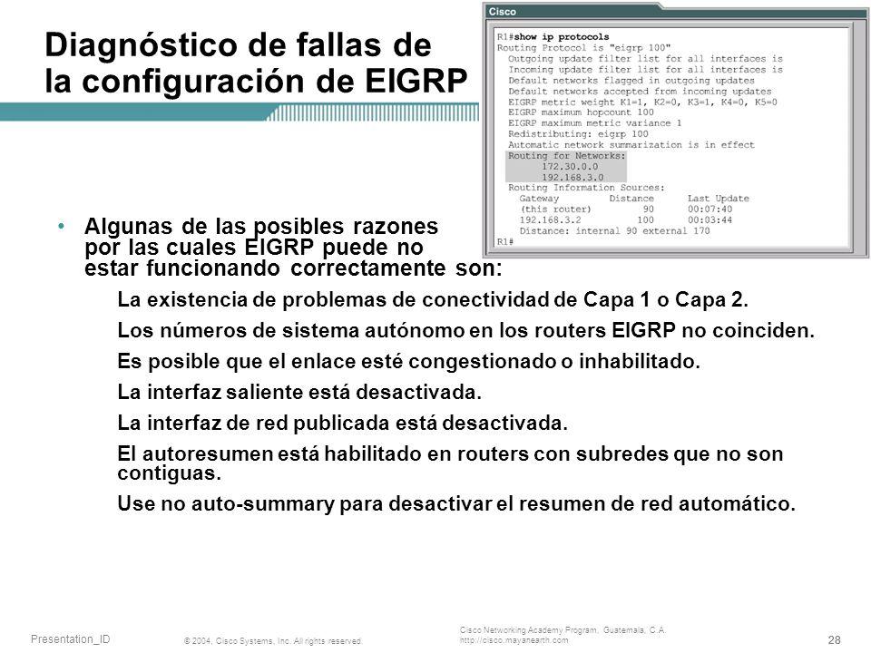 Diagnóstico de fallas de la configuración de EIGRP