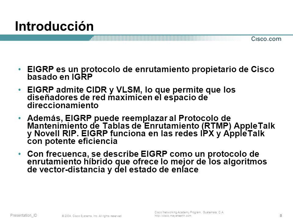 Introducción EIGRP es un protocolo de enrutamiento propietario de Cisco basado en IGRP.