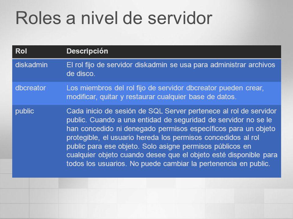 Roles a nivel de servidor