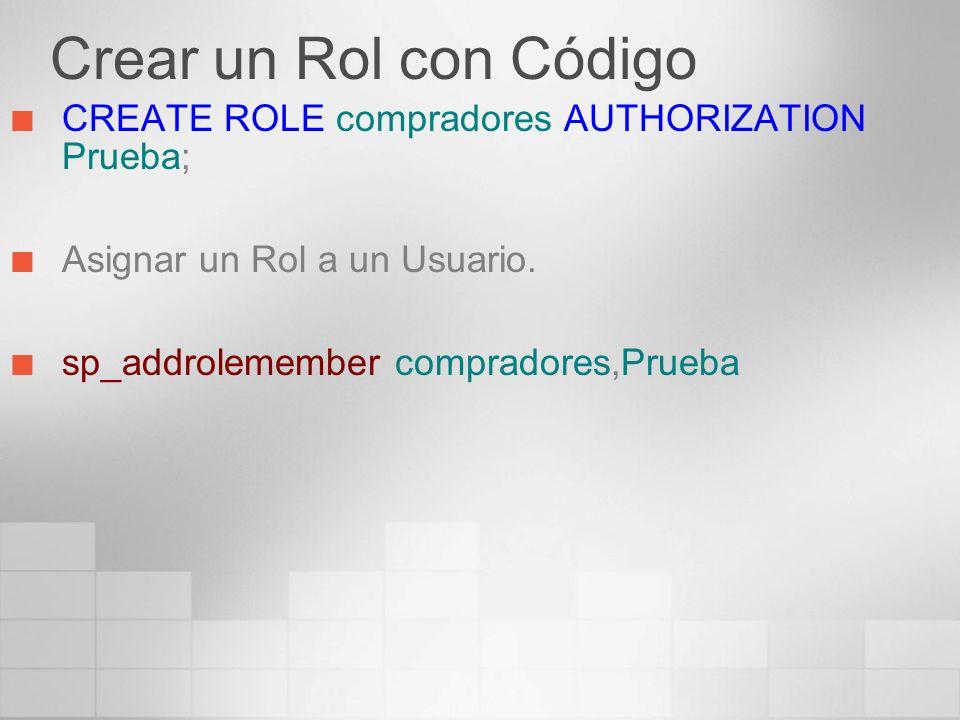 Crear un Rol con Código CREATE ROLE compradores AUTHORIZATION Prueba;