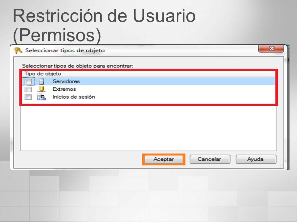 Restricción de Usuario (Permisos)