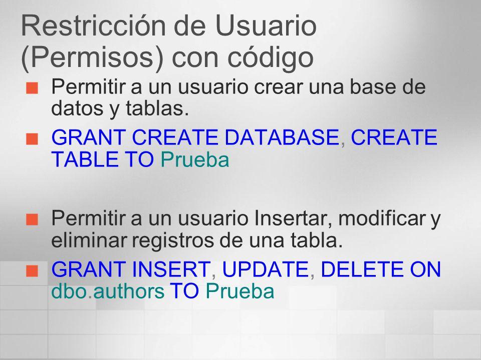 Restricción de Usuario (Permisos) con código