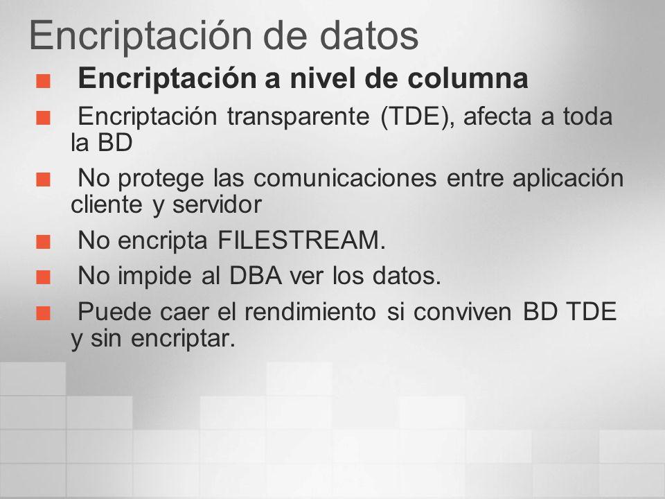 Encriptación de datos Encriptación a nivel de columna
