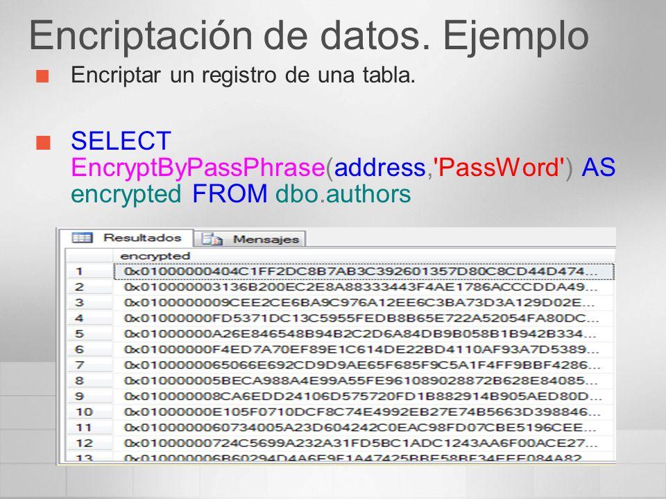 Encriptación de datos. Ejemplo