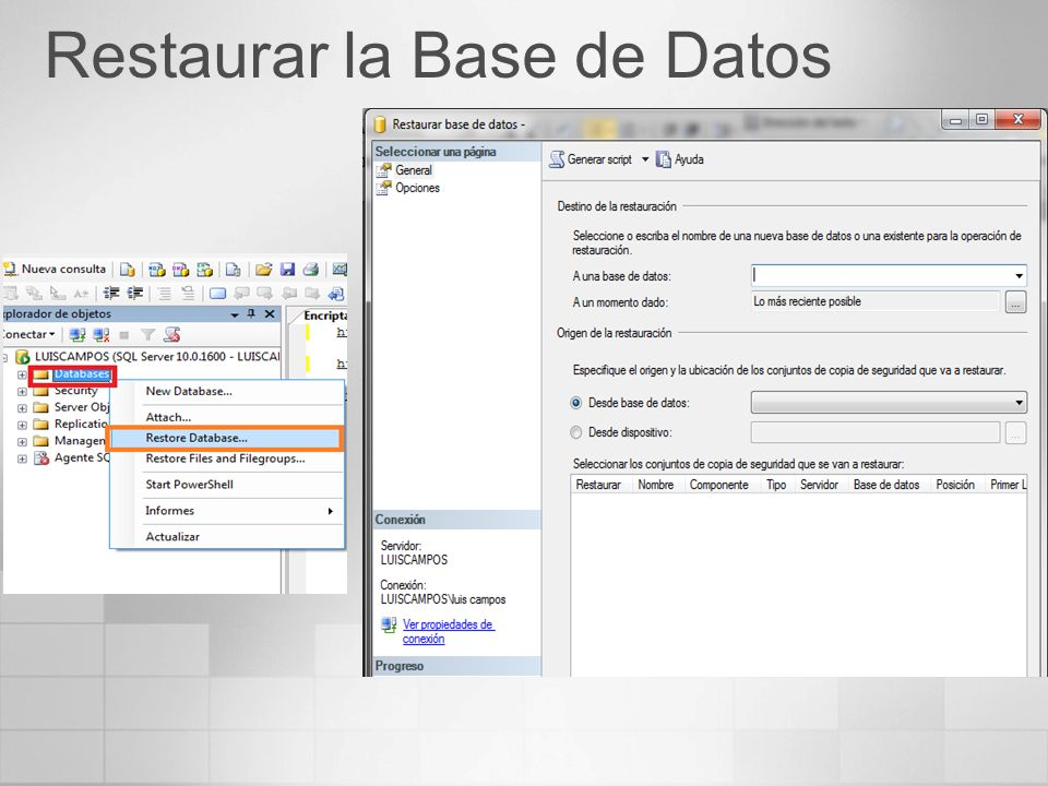 Restaurar la Base de Datos