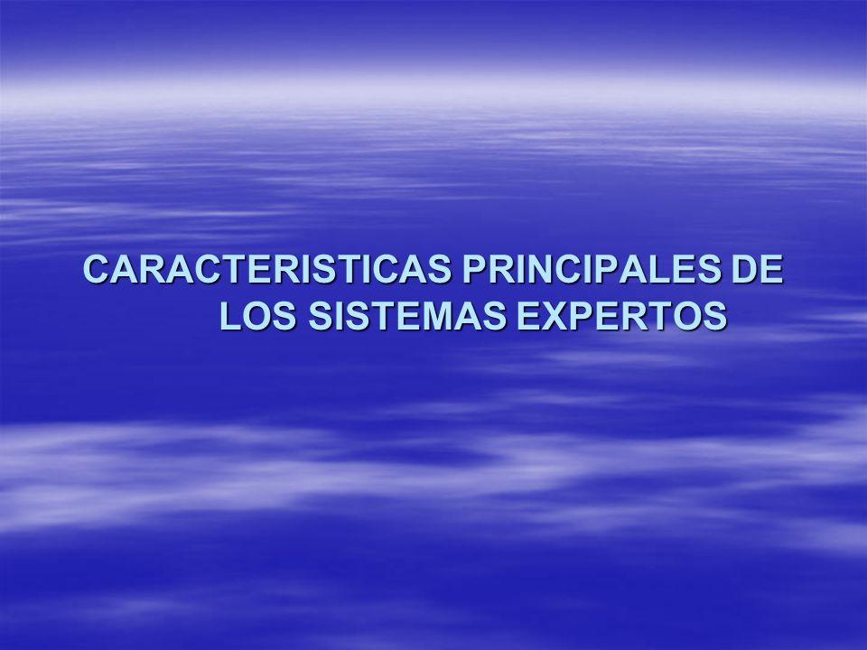 CARACTERISTICAS PRINCIPALES DE LOS SISTEMAS EXPERTOS