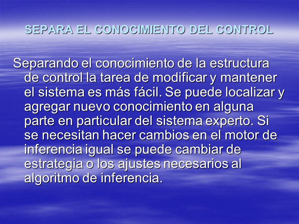 SEPARA EL CONOCIMIENTO DEL CONTROL