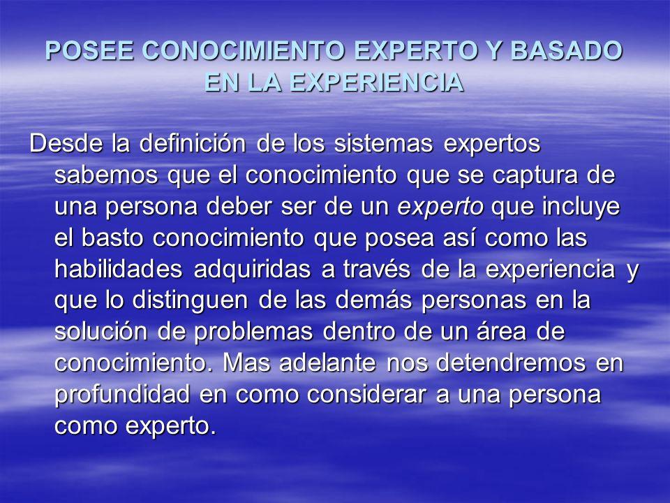 POSEE CONOCIMIENTO EXPERTO Y BASADO EN LA EXPERIENCIA