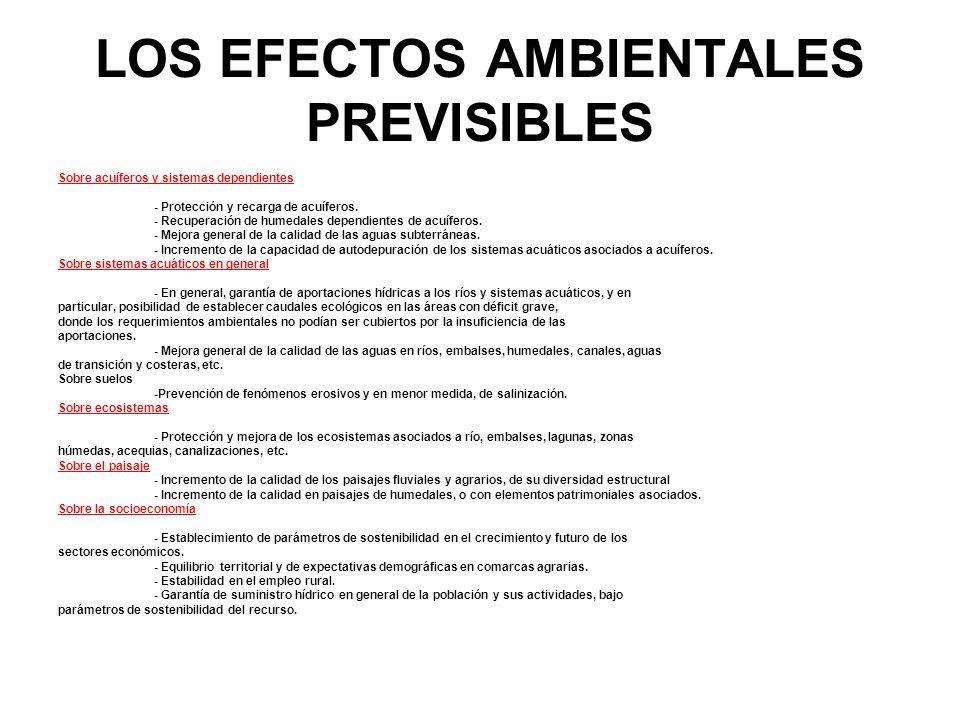 LOS EFECTOS AMBIENTALES PREVISIBLES