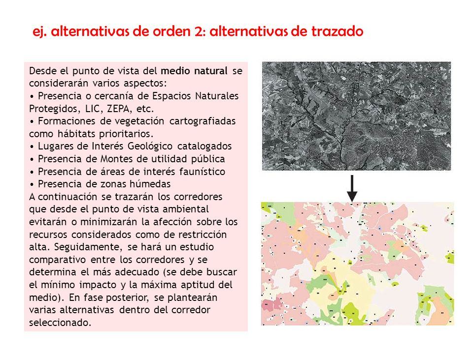 ej. alternativas de orden 2: alternativas de trazado