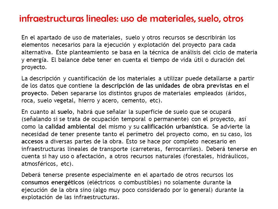 infraestructuras lineales: uso de materiales, suelo, otros