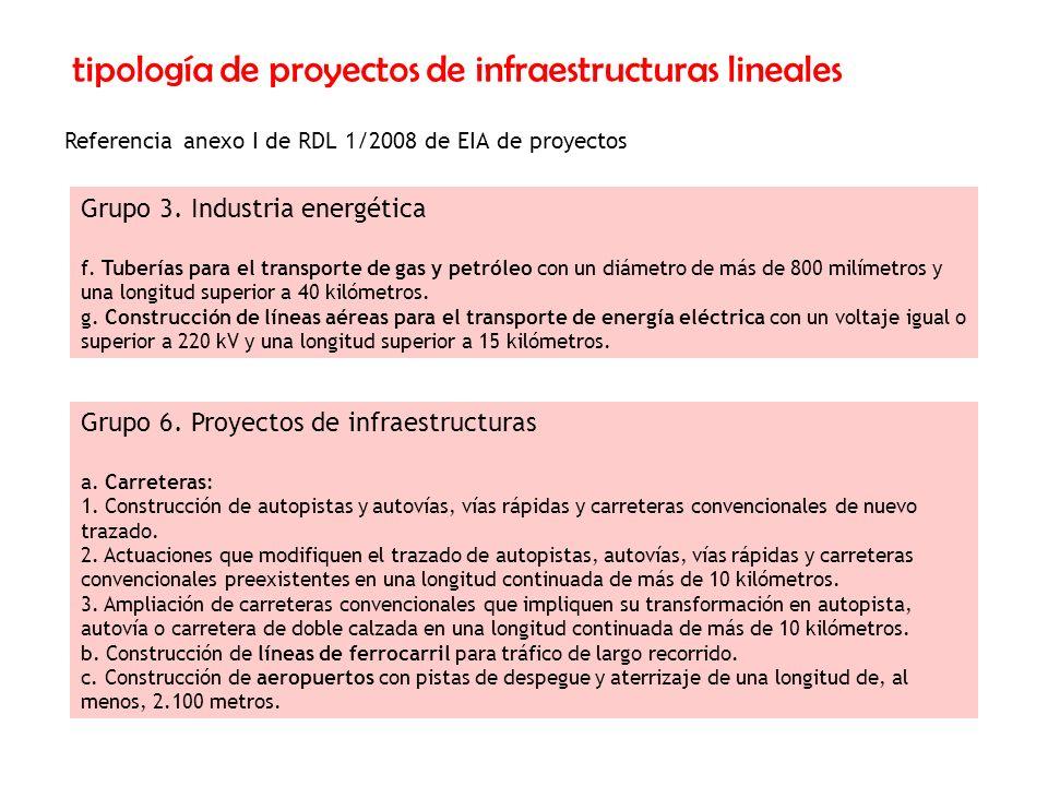 tipología de proyectos de infraestructuras lineales