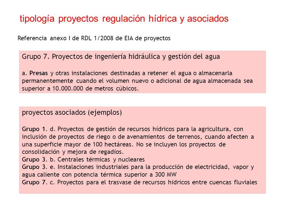 tipología proyectos regulación hídrica y asociados