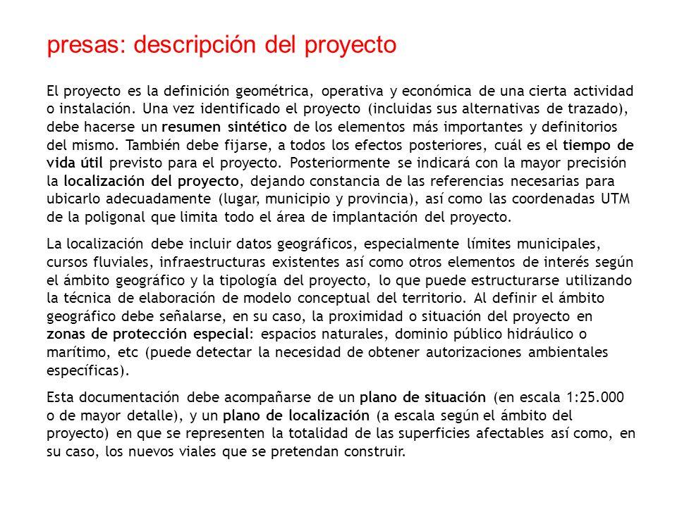 presas: descripción del proyecto