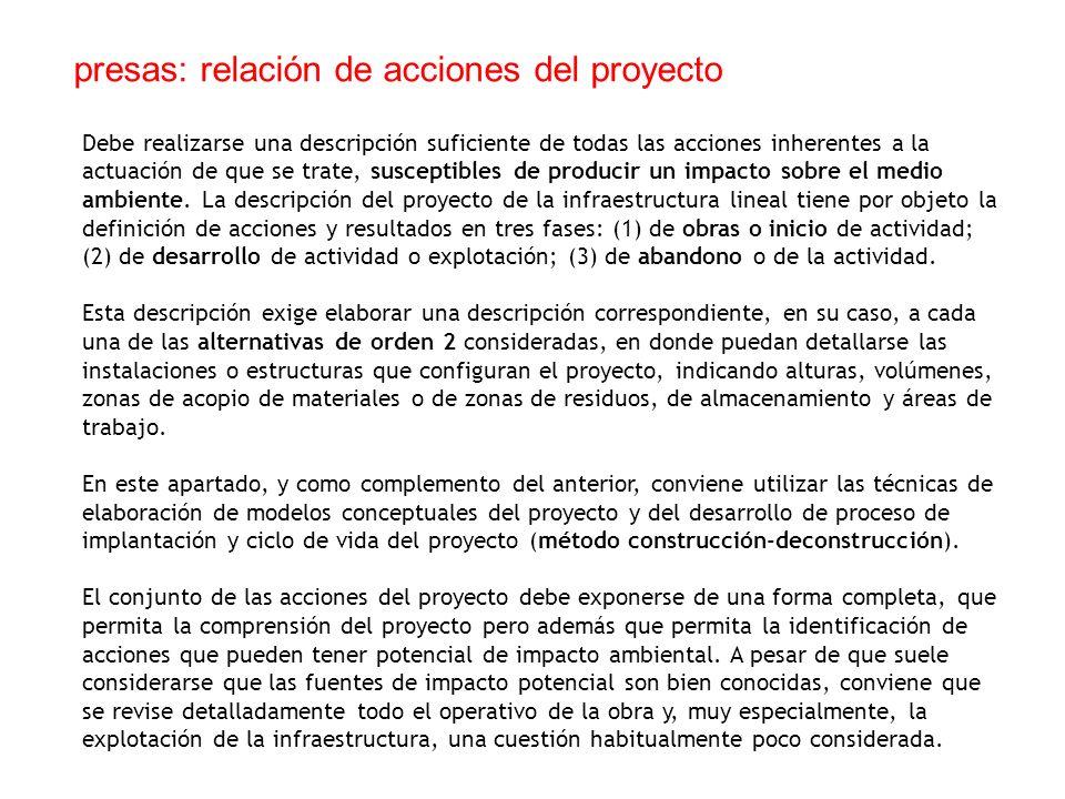presas: relación de acciones del proyecto
