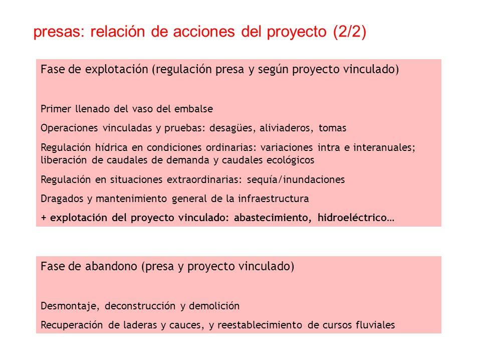 presas: relación de acciones del proyecto (2/2)